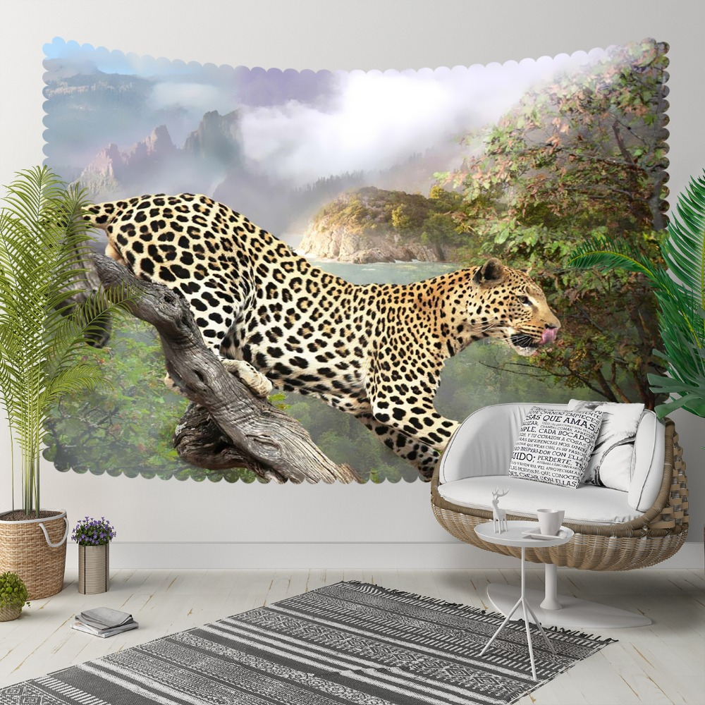 Else Tropical Green Trees Wild Leopard Animal Jungle 3D Print Decorative Hippi Bohemian Wall Hanging Landscape Tapestry Wall Art