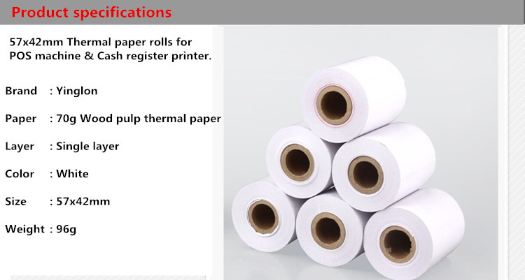 US $0 8 |2pcs/lot 57*50 EFTPOS machine actual size 57x42mm cash register  paper single layer thermal paper rolls for cash register printer-in Cash