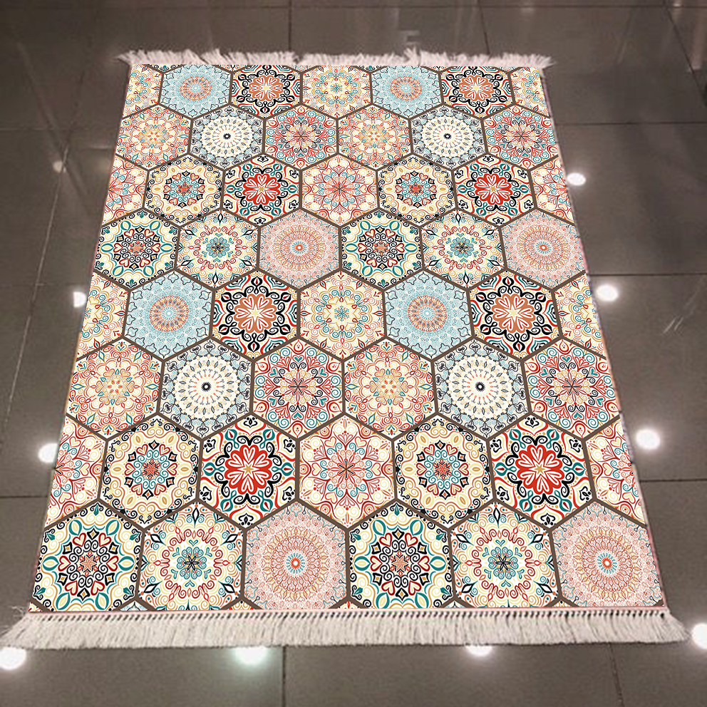 Else Brown Blue Authentic Ottoman Patchwork Geometrics  3d Microfiber Anti Slip Back Washable Decorative Kilim Area Rug Carpet