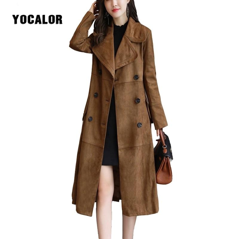 Windbreaker Spring 5XL Plus Size Autumn Winter Women Long Suede Trench Coat Elegant Turn-down Collar Vintage Female Overcoat