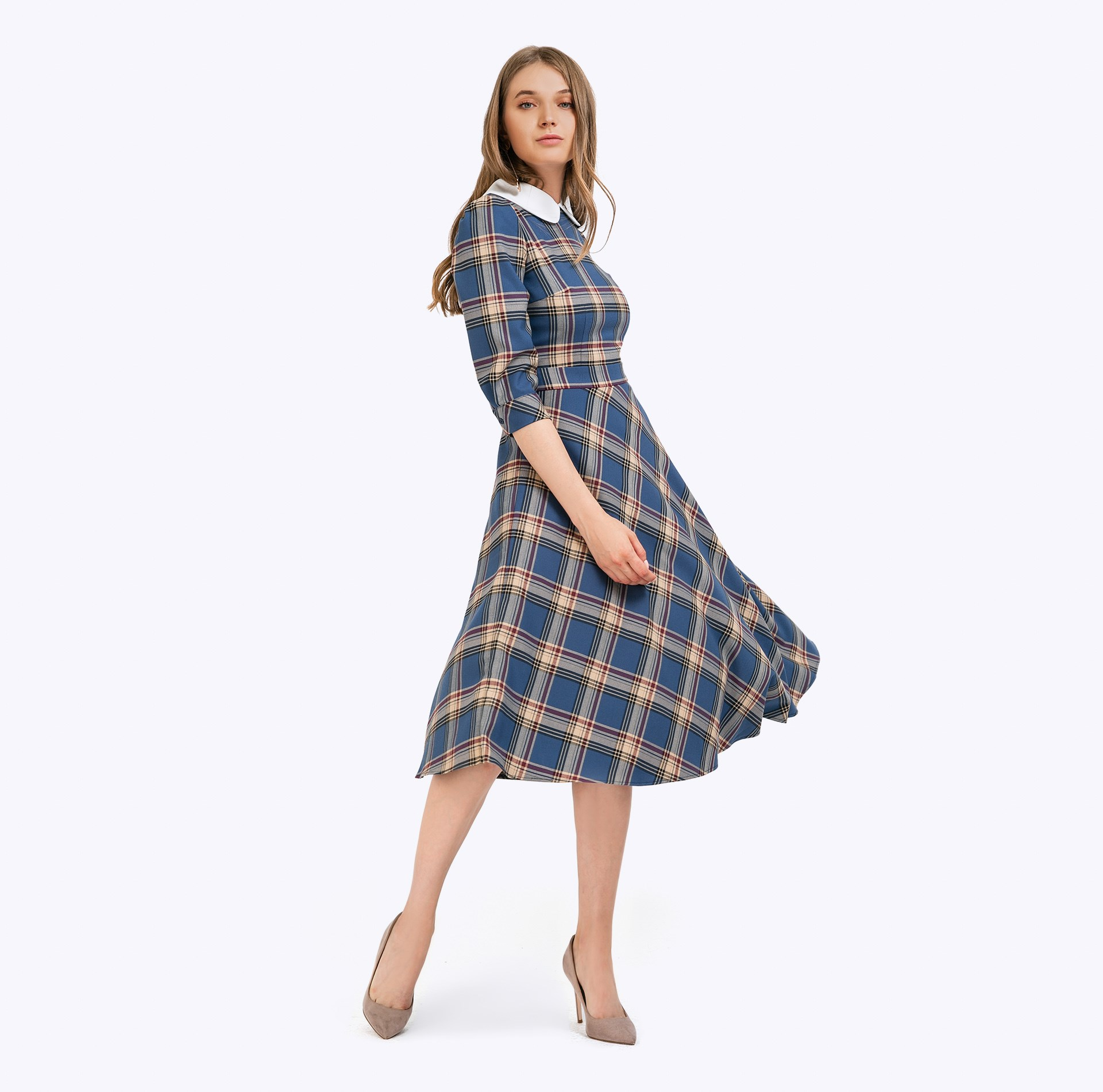 Slim dress plaid self belted button up plaid print dress