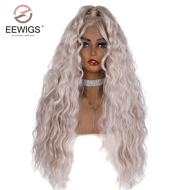EEWIGS Loose Wave Wig 180% Density Glueless Platinum Blonde Lace Front Wig Heat Resistant Sliver Hair With Ponytail for Women(China)