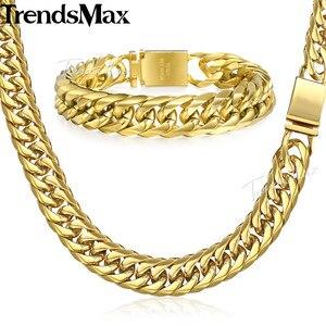 Image 4 - Trendsmax Hip Hop Iced Out Gepflasterte Strass Kubanischen Kette herren Halskette Armband 316L Edelstahl Gold Farbe 16mm KHSM04
