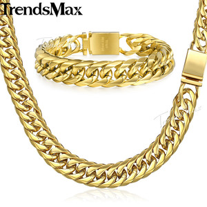 Image 4 - Trendsmax Hip Hop Iced Out Paved Rhinestones Cuban Chain Mens Necklace Bracelet 316L Stainless Steel Gold Color 16mm KHSM04