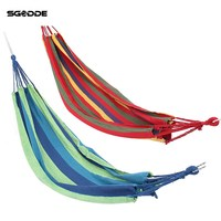 SGODDE Portable Outdoor Garden Hammock Hang BED Travel Camping Swing Canvas Stripe Approx 1900x850mm