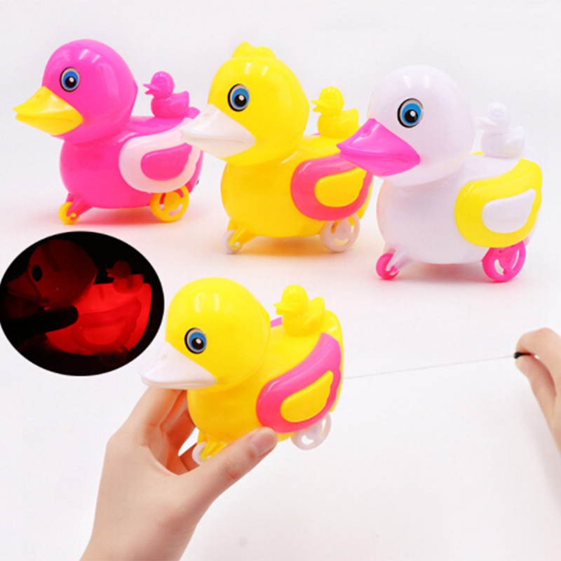 Flashing Toddler Kids Baby Toys Traditional Pull Along Duck Plastic Toys For Children Color Random ...