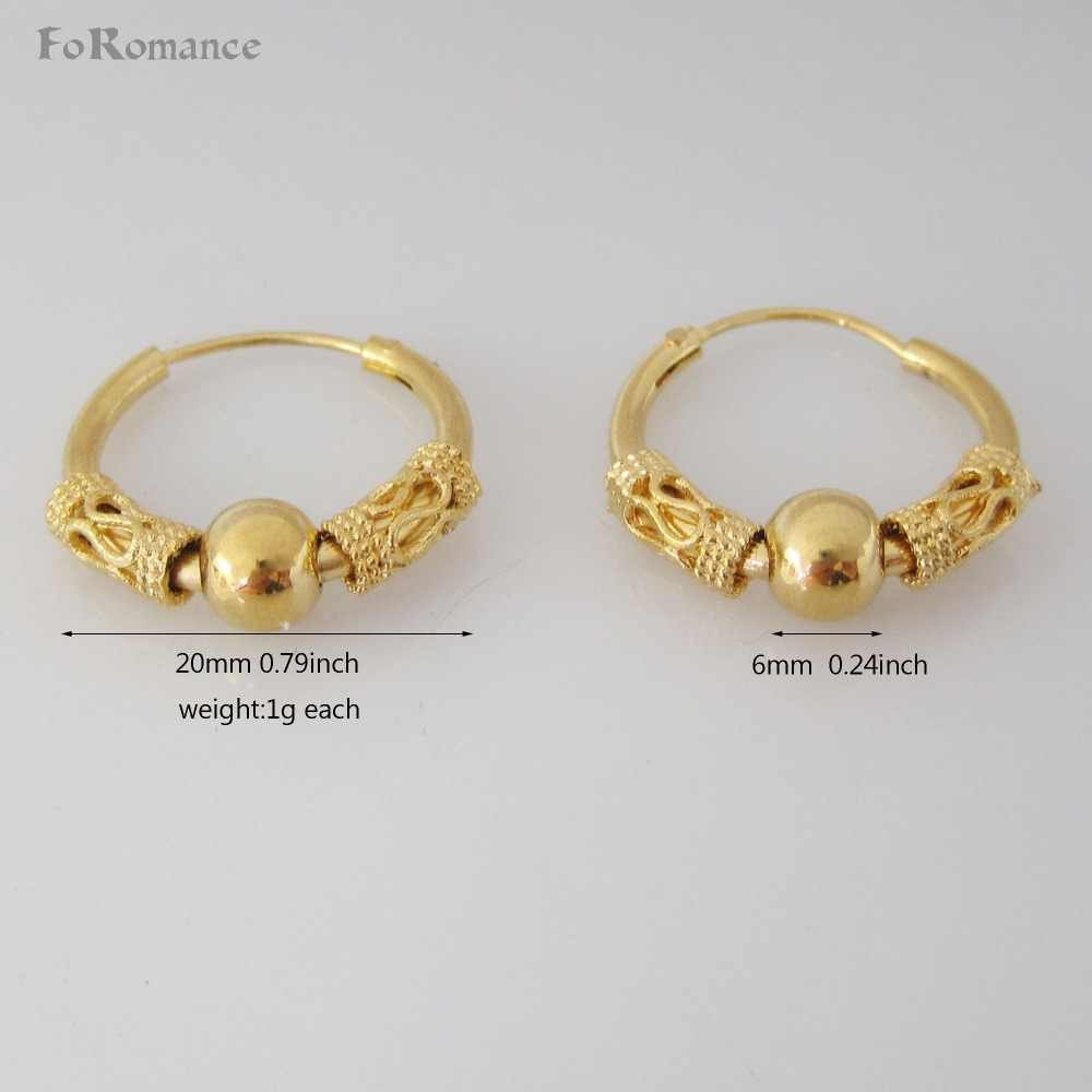 "MIN ORDER 10$ CAN MIX DESIGN/CUTE CARVED DIFFERENT BALL PARTS  IN MIDDLE 24K YELLOW GOLD GP OVERLAY HUGGIE HOOP 0.79"" EARRING"