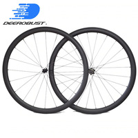 1353g Em Linha Reta Puxar 38mm x 23mm Clincher Carbono 700c Rodas de Bicicleta de Estrada conjunto Roda de Bicicleta Powerway R36 /Bitex hubs BX305 20 24 Buraco|road bike wheels|wheel set|bicycle wheel -