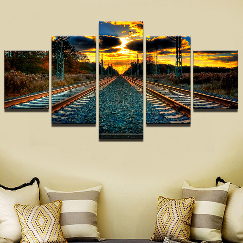 Canvas Wall Art HD Printed Painting Framework Modern Pictures 5 Pieces Sunset Railway Landscape Home Decor For Living Room