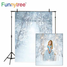 Funnytree backdrop for photographic studio winter snow tree wonderland landscape professional background photobooth photocall