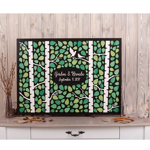 Livro de Visitas Livro de Hóspedes Personalizado Madeira Casamento Alternativas Original Floresta Árvore Verde Gastenboek 3d