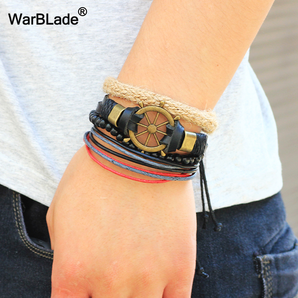 WarBLade Vintage Multilayer Braided Leather Women Bracelets Wood Beads Bracelet Bangle Men Punk Wrap Wristband Jewelry 4pcs/set