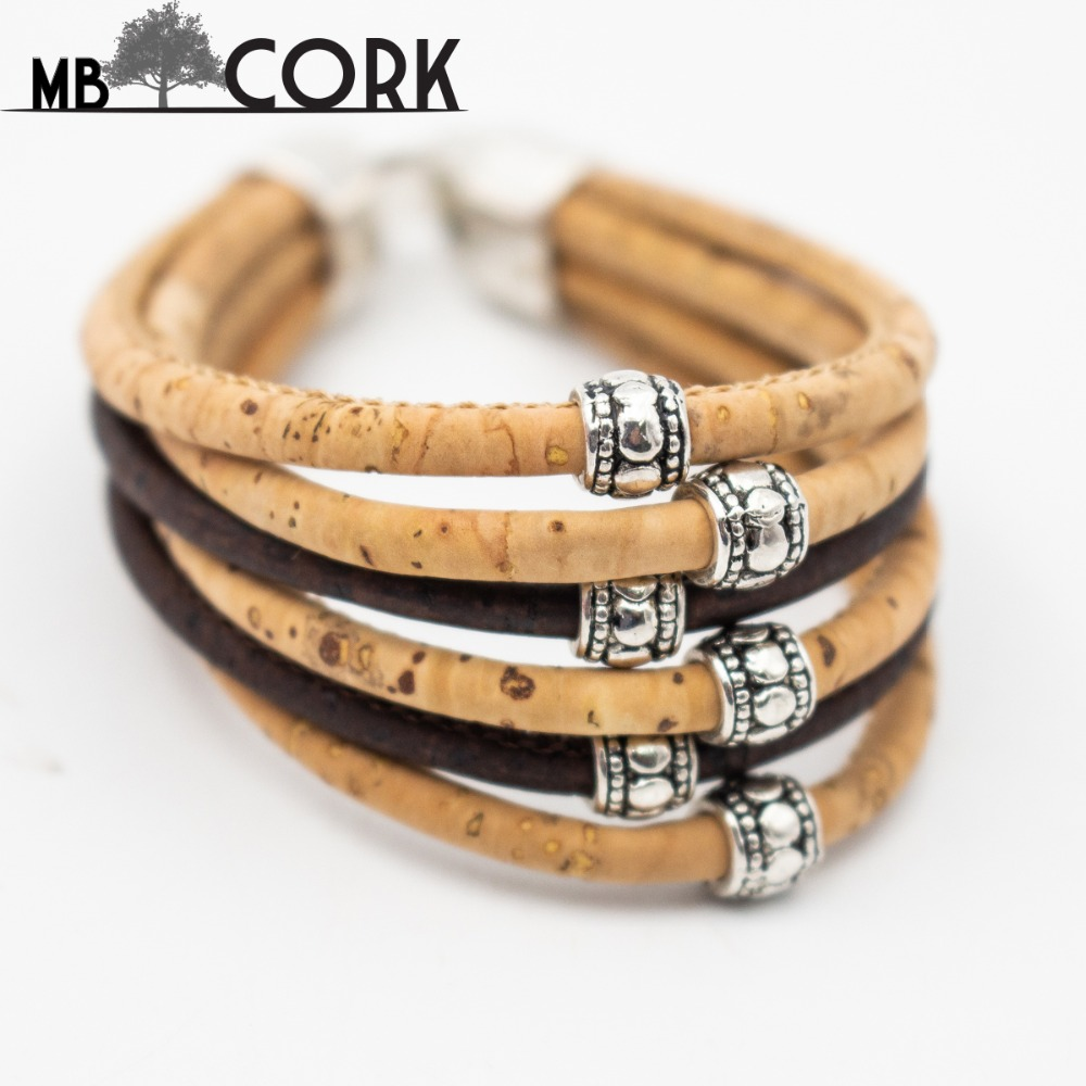 MB Cork multi strand cork bracelet women Vintage bracelet natural handmade vegan jewelry Brithday Gift 18cm Br-92
