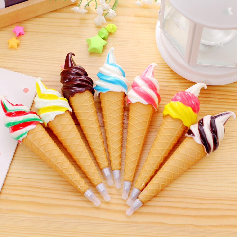 Creative Ice Cream Pen Gel Pen Material Stationery Office School Supplies Gift For Kids Color Random Long 14cm new creative 2014 deli 0368 power saving 50% stapler color random black or white school supplies office set staples stationery