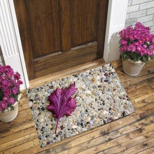 Else Brown Gray Black Wall Stones On Purple Leaf 3d Pattern Print Anti Slip Decorative Floor Door Mat Home Entryway Livingroom
