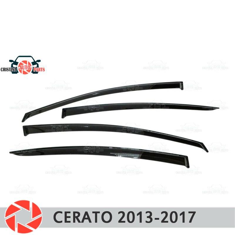 Window deflector for Kia Cerato 2013- rain deflector dirt protection car styling decoration accessories molding кисти подхваты крючки держатели rain window decoration