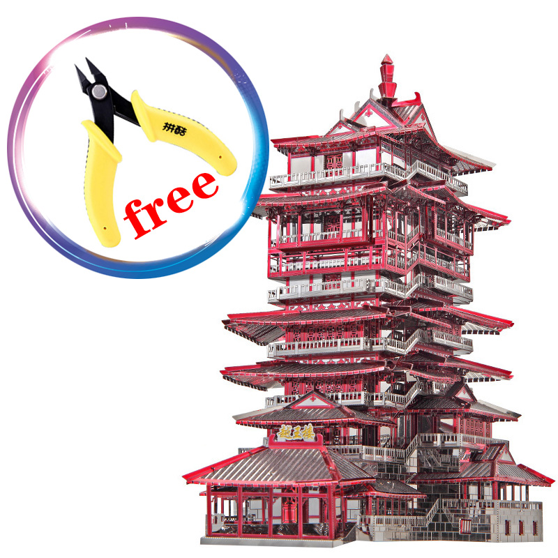 Piececool 3D Metal Puzzle YueWang Tower Building Model P089-RKS Chinese cultural characteristics creative toys недорого