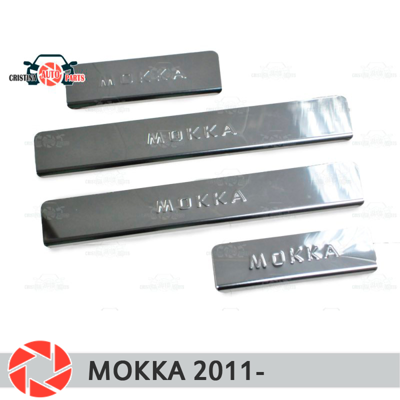 Door sills for Opel Mokka 2011- step plate inner trim accessories protection scuff car styling decoration high quality car styling case for hyundai sonata 2011 12 headlights led headlight drl lens double beam hid xenon car accessories