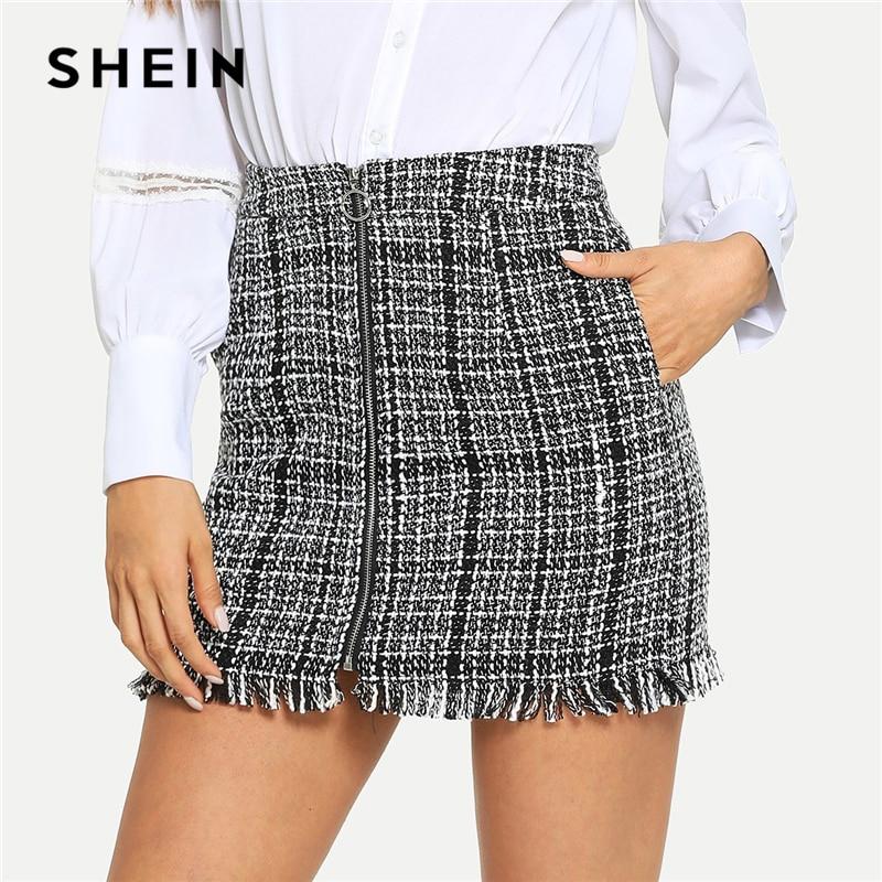 SHEIN Black And White Plaid Zip Front Frayed Tweed Skirt Elegant Fringe Pocket Mid Waist Pencil Skirts Women Autumn Mini Skirts