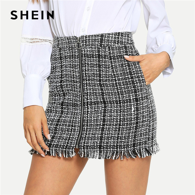 7cbf483f57 SHEIN Black and White Plaid Zip Front Frayed Tweed Skirt Elegant Fringe  Pocket Mid Waist Pencil
