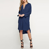 ZANZEA M-5XL Plus Size Ocasional Do Vintage Moda Feminina Jeans de Grandes Dimensões azul V Pescoço Olhar Jean Camisa de Manga Longa Retro Vestido Vestido