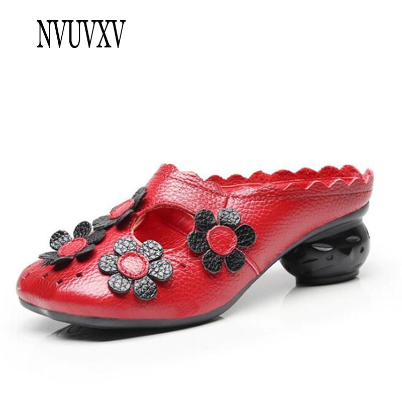 2019 Hueco Moda Sh054 Baotou Nacional Negro Con Las Cuero Zapatillas Genuino amarillo Mujeres Hecha rojo Estilo Flores A Mano De rrnqRf4vw