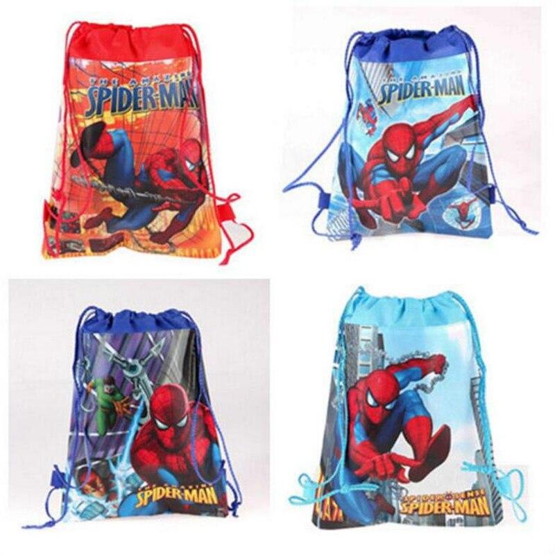 1 Pcs Kids Boys School Mochila Infantil Backpacks Cartoon Spiderman Children Non-woven Drawstring Beach Travel Bag