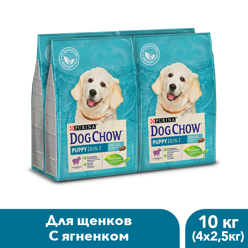 Dog Chow dry food for puppies up to 1 year old with a lamb, 10 kg. dog chow dry food for puppies up to 1 year old with chicken 14 kg