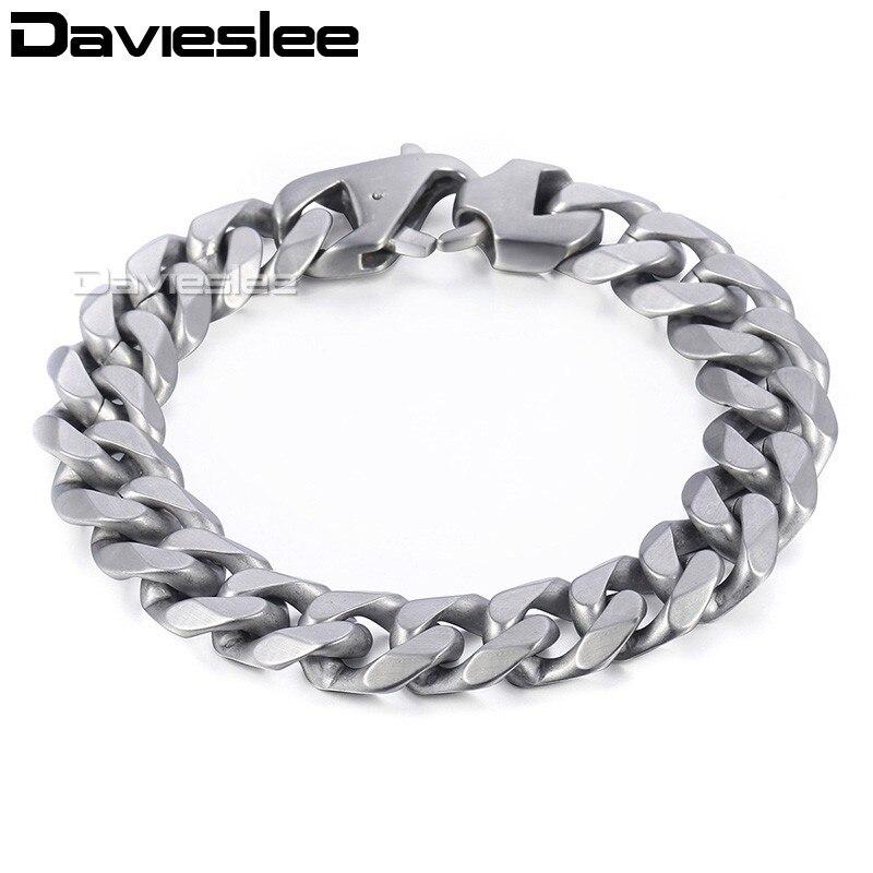 все цены на Davieslee Mens Chain Matte Brushed Polished Bracelet 316L Stainless Steel Cut Curb Cuban Link Silver Tone 14.5mm LHBM109 онлайн