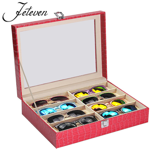 8 Slots Wooden Eyeglasses Sunglasses Dispay Storage Case Box PU