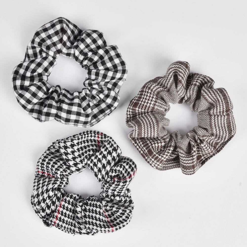 New Arrial Hounds Tooth Check Ponytail Holder Scrunchies Ring  Elastic Hair Tie  Hair Holder Rope For Women & Girl  A
