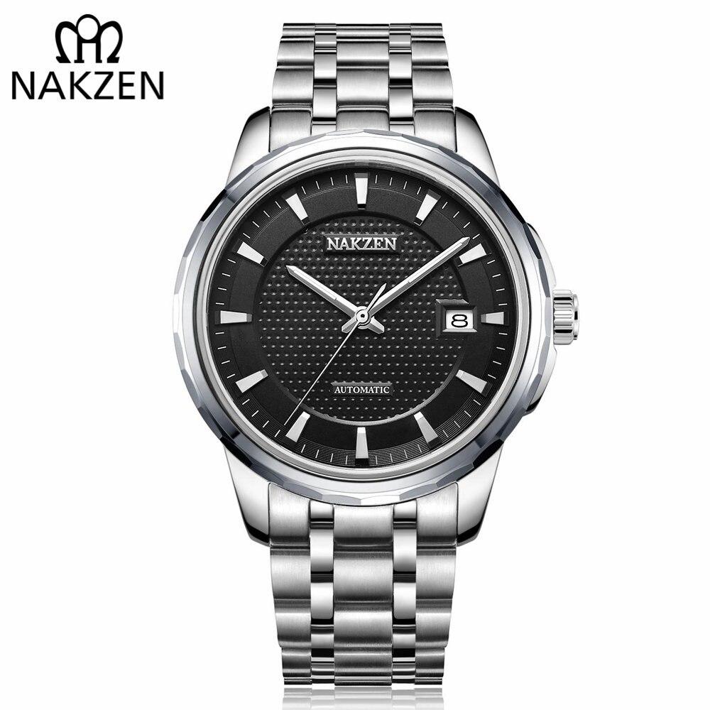NAKZEN Hommes Automatique Japon NH35 Mouvement Mécanique Montre Hommes D'affaires Date Montre-Bracelet Marque De Luxe Horloge Relogio Masculino