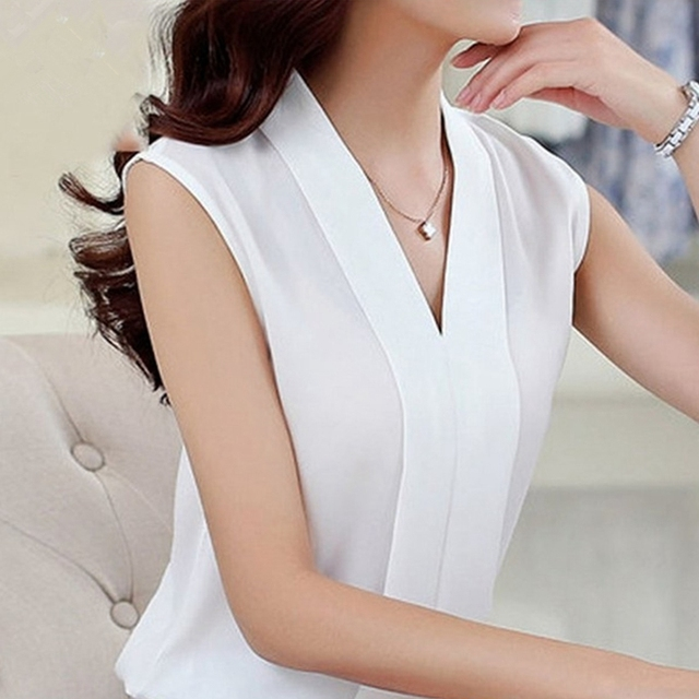 2018 New Fashion Women Chiffon Blouses Ladies Tops Female Sleeveless Shirt Blusas Femininas White,Black,Red,Pink S-2XL Plus Size