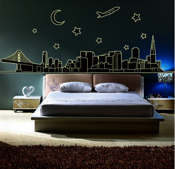 Us 2 88 Aliexpress Com Buy City Night Luminous Fluorescent Golden Gate Bridge New York Moon Wall Sticker Bedroom Home Decor Livingroom Home