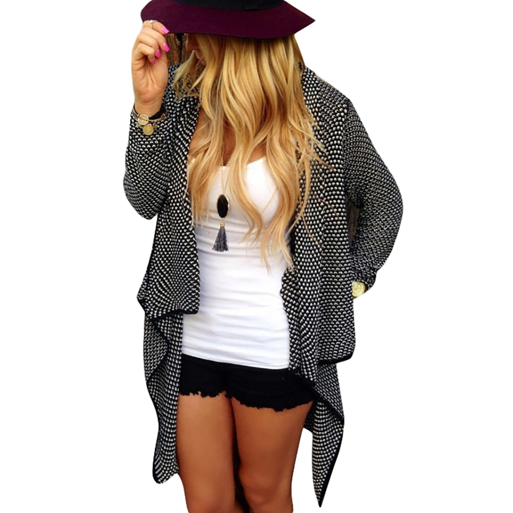 Womens Fashion Long Sections Irregular Dot Long-Sleeve Knit Cardigan Sweater Spring and Autumn Coat
