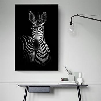 Картина на холсте с принтом постер с зеброй искусство черно-белое животное Современные поп настенные картины для гостиной домашний декор б...