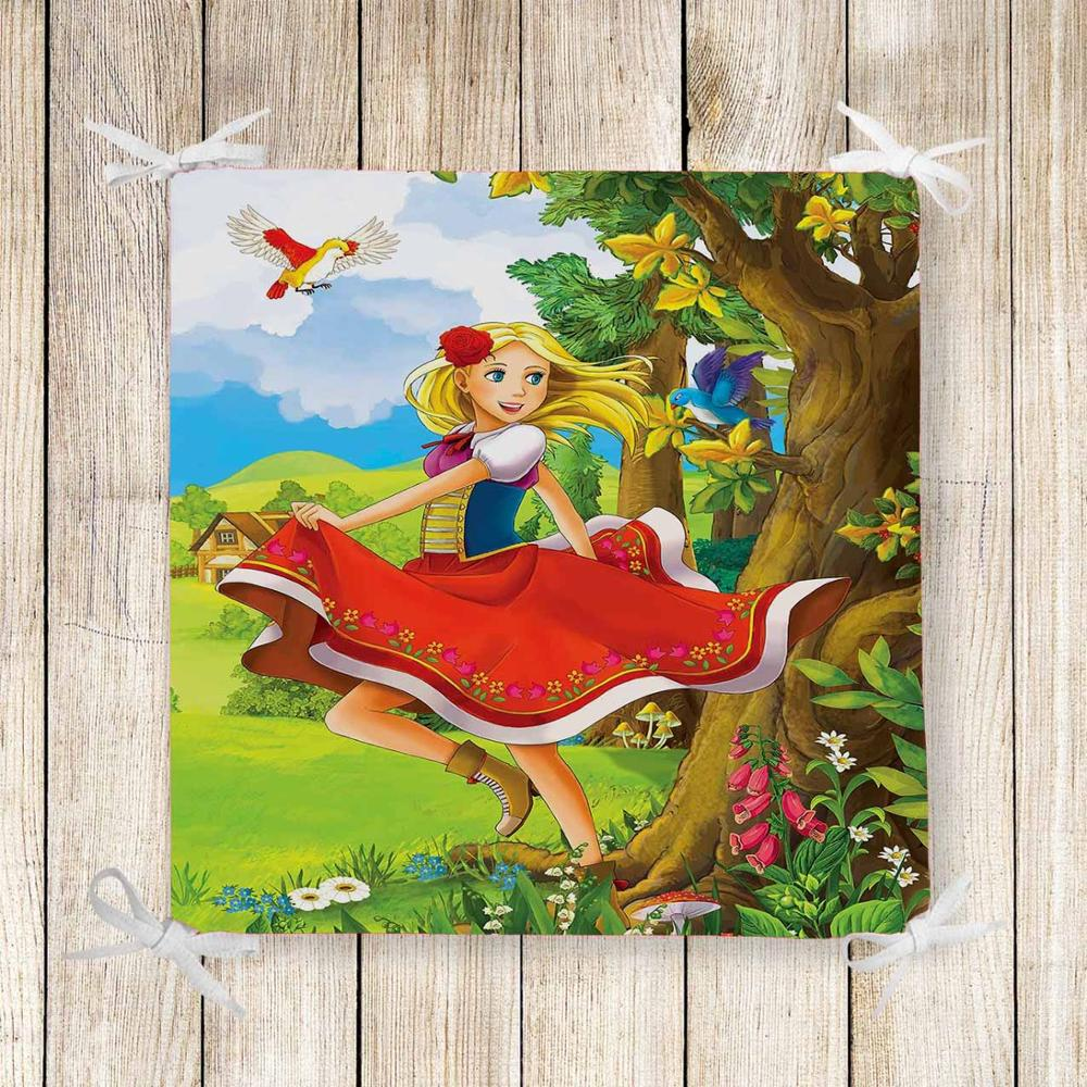Else Red Princess Birds Floral Kids 3d Print Chair Pad Seat Cushion Soft Memory Foam Full Lenght Ties Non Slip Washable Square