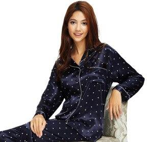 Image 1 - Ensemble pyjama en Satin de soie pour femmes, pyjama S,M, L, XL, 2XL, 3XL, vêtements de nuit Plus