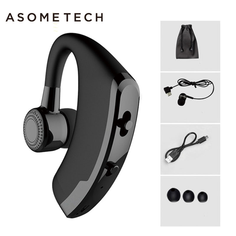 V9 Handsfree Business Bluetooth Headphone With Mic Voice Control Wireless Bluetooth Headset For Drive Noise Cancelling Earphones legend v8 business bluetooth headset wireless handsfree car earphone stereo headphone with mic voice control for iphone samsung
