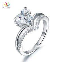 Павлин звезда Твердые 925 пробы серебро 2 карат обручение кольцо с сердцем обещание Свадебные украшения CFR8317