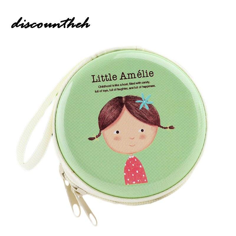 Mini Zipper Coin Purse SD Card Box Bag Carrying Pouch Storage Earcup Cute Little Girl Print For Lady Girl