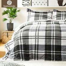 Naturelife Warm Down Alternative Sherpa Comforter Comfortable Comforter Set Luxury Plus Size Comforter Edredom Futon 3pcs