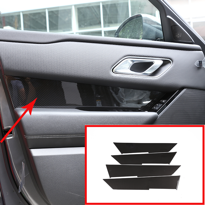 4 Pcs Carbon fiber ABS Interior Door Handle Panel Cover Trim For Land Rover Range Rover VELAR 2017 2018 Car Accessory-in Interior Mouldings from Automobiles & Motorcycles    1
