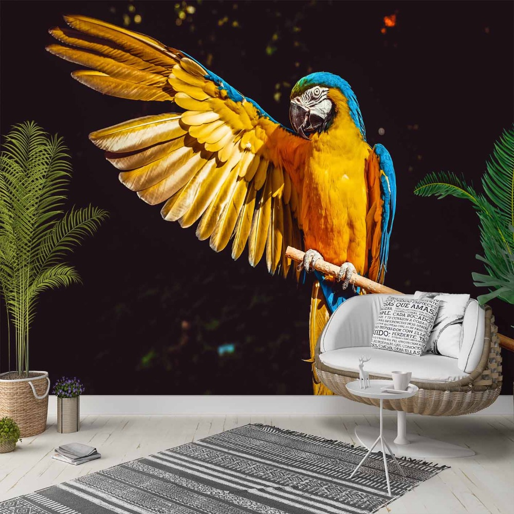 Else Black Floor Tropical Yellow Blue Parrot 3d Photo Cleanable Fabric Mural Home Decor Living Room Bedroom Background Wallpaper
