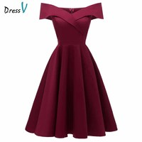 Dressv Off The Shoulder Burgundy Homecoming Dress Short Sleeves Knee Length Zipper Up Graduation Party Formal Homecoming Dresses