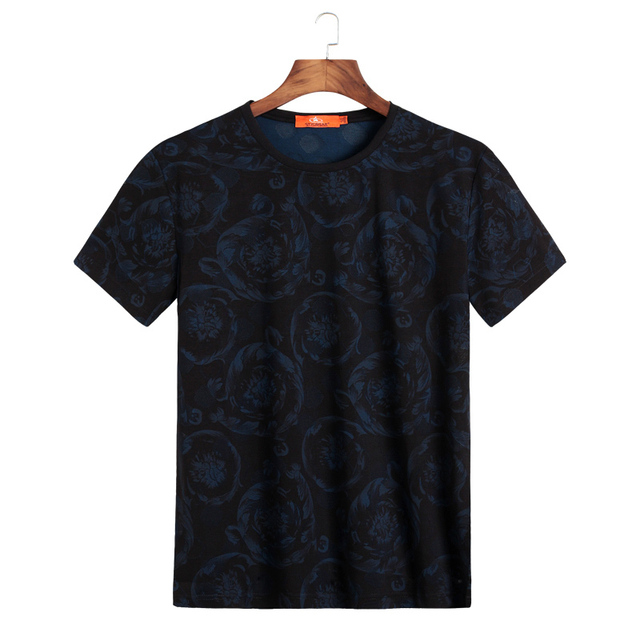2018 8xl 9xl Summer Mens Casual T Shirts Black Flower Print Brand Clothing For Man's Short Sleeve Loose T-Shirts Male Tops Tee 3