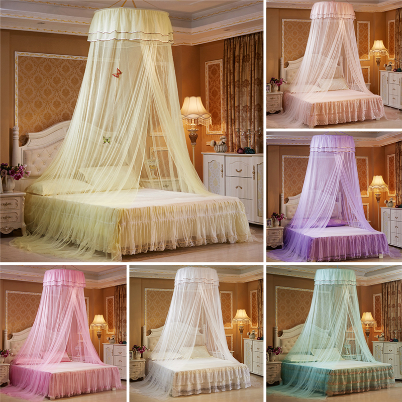 Princess Hanging Round Lace Canopy Bed Netting Comfy Student Dome Mosquito Net for Crib Twin Full Queen Bed