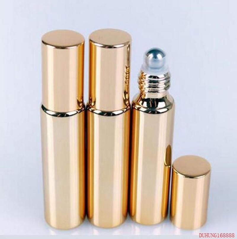 5ml gold Bottles 10ML Glass UV Refillable Perfume Small Roller Ball Bottle Travel Atomizer 685#