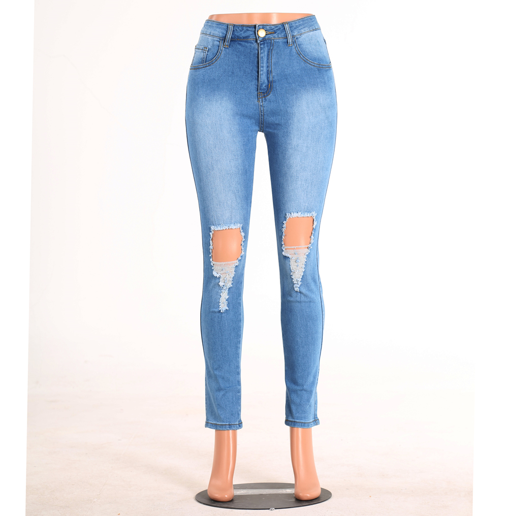 High-Grade New Ladies Tight-Washing Jeans Double Knee Hole High Waist Handmade Flashing Breathable Casual Stretch Feet Pants