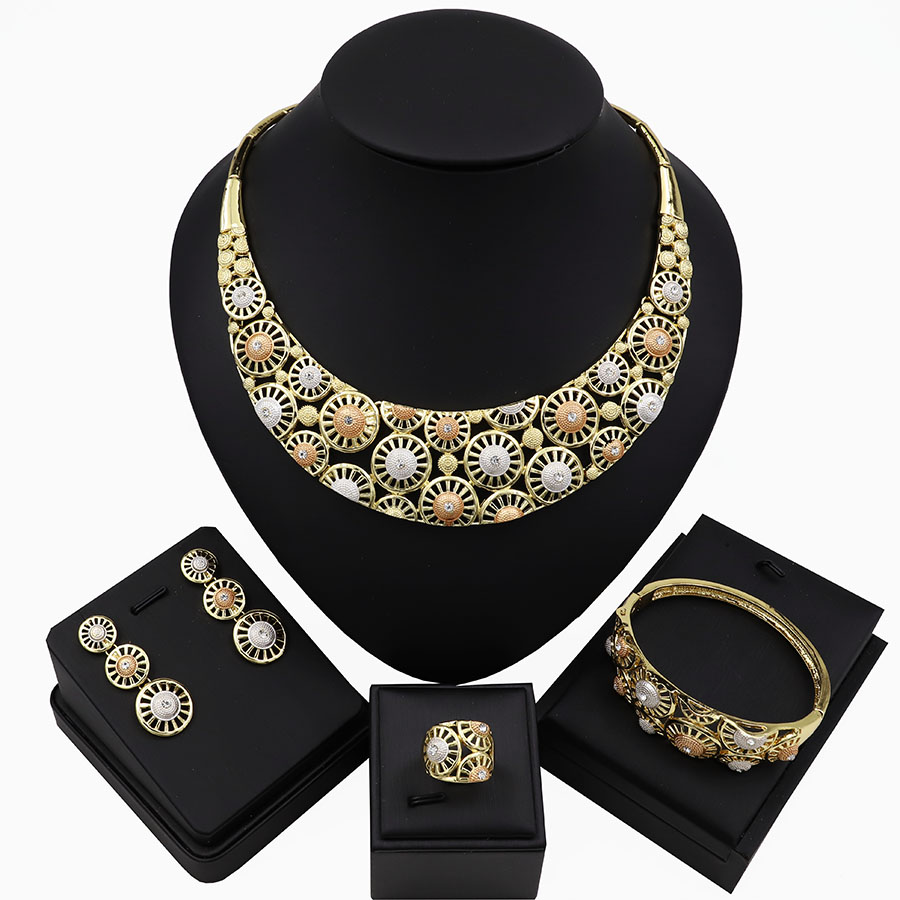 TSROUND Gold Color Necklace Set For Women Dubai Costume Jewelry Three Tones Fashion Set